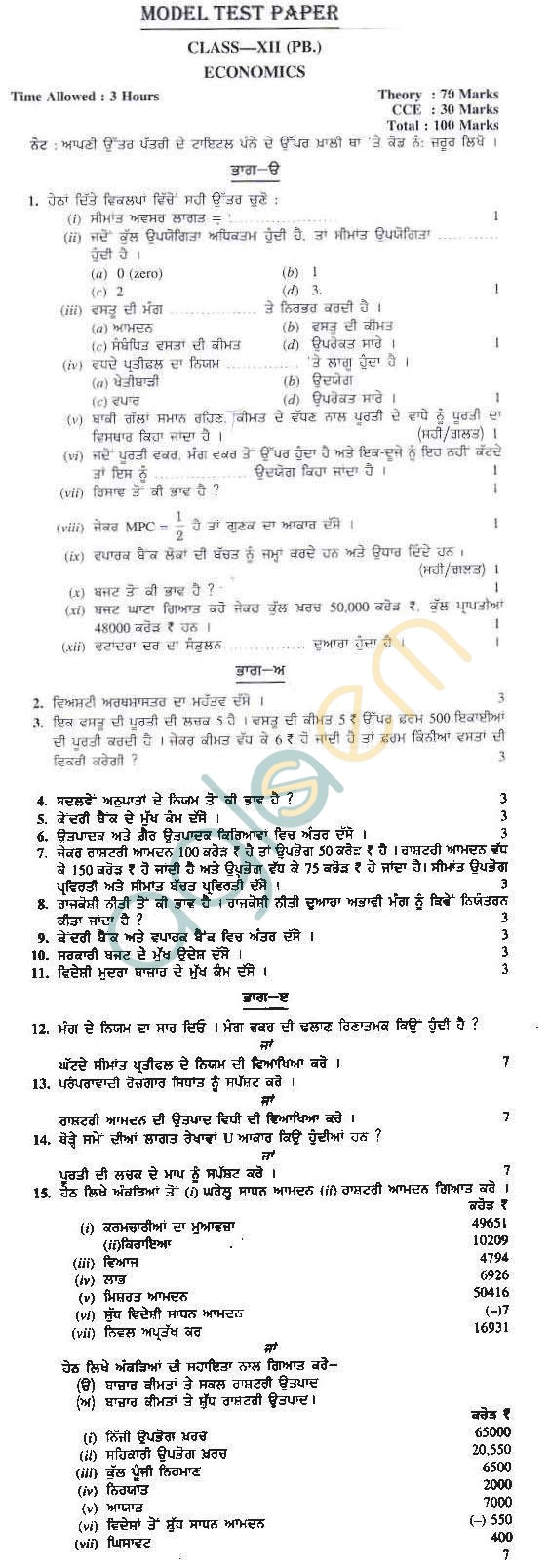 15 sample question papers economics class 12th cbse: buy 15 sample.