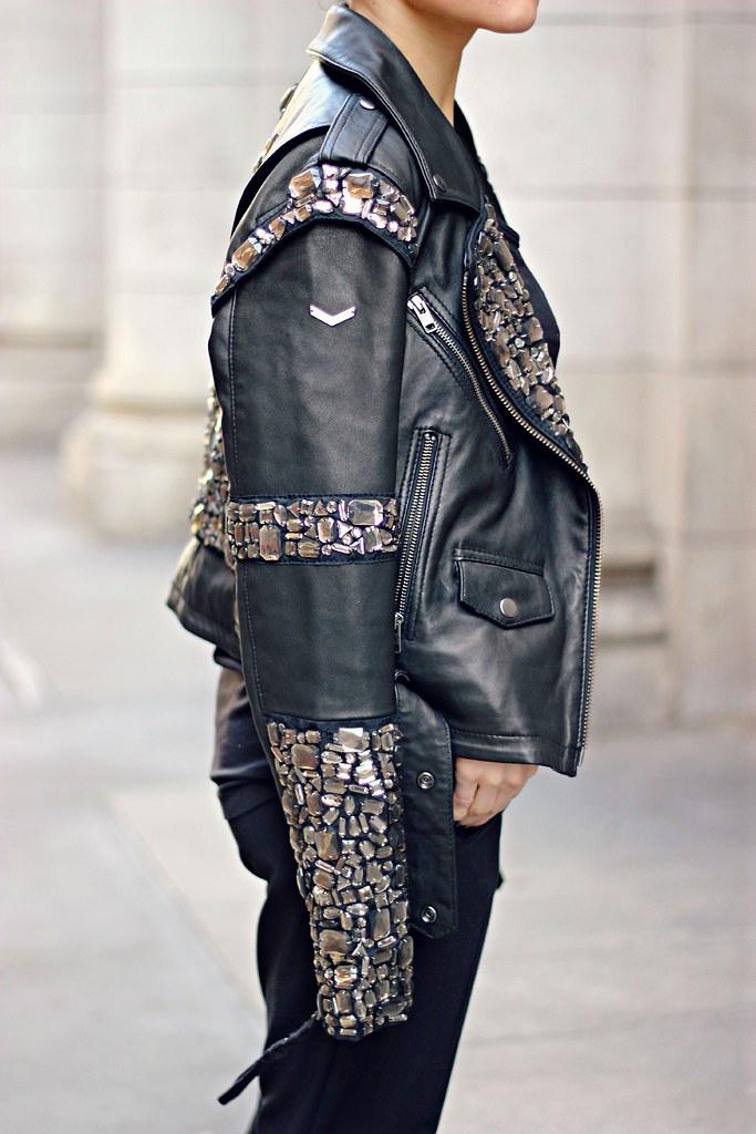 Superdry embellished black leather jacket 9