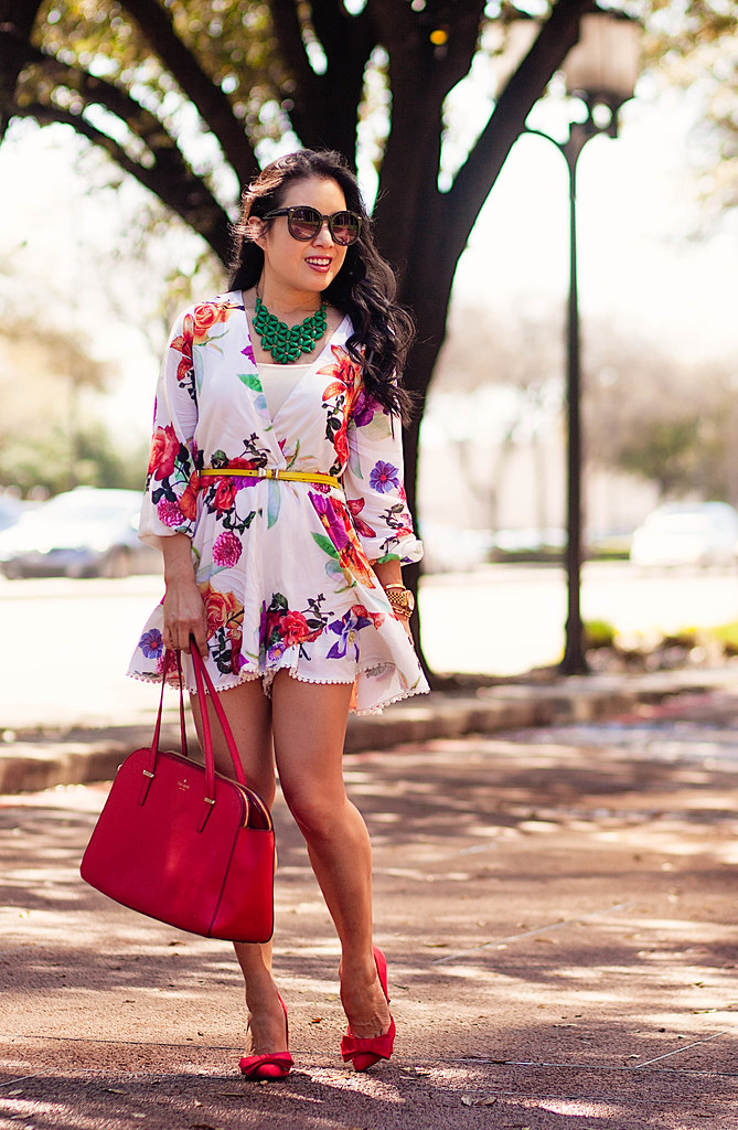 cute & little blog | petite fashion | choies floral romper, green statement necklace, yellow bow belt, red bow pumps, kate spade red bag | spring outfit