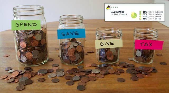 Spend, Save, Give, Tax Jars