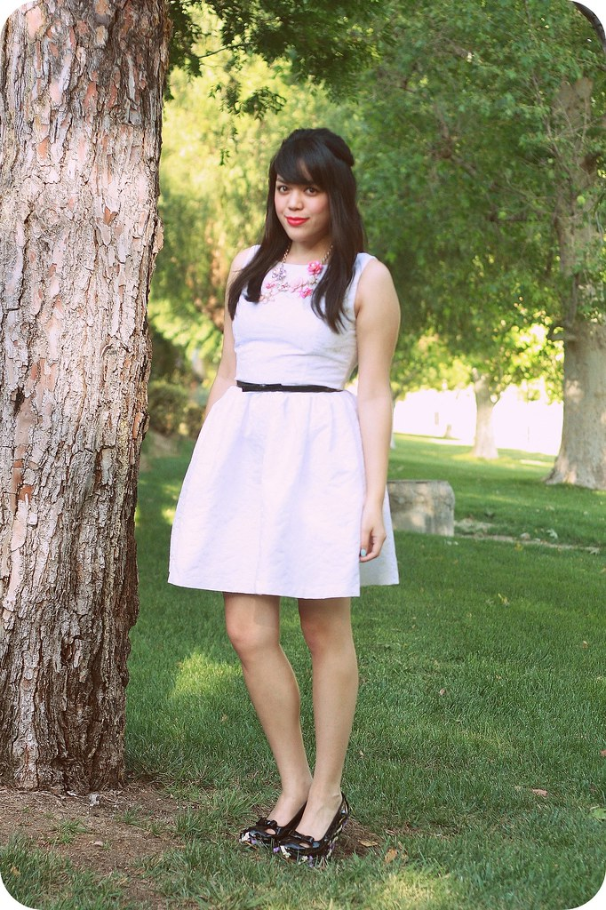 Sweets & Hearts Outfit Style featuring white lace Minuet dress and black bow Giggly Woo wedges by Irregular Choice
