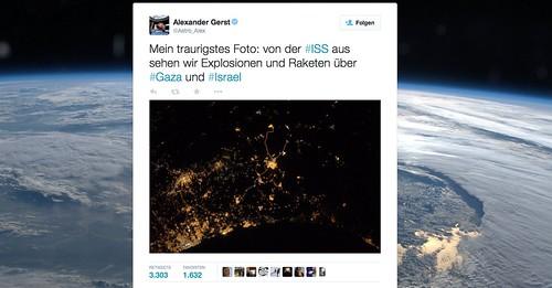 Tweet zu Gaza von Alexander Gerst