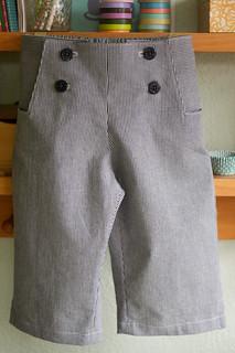 stripey blue sailboat pants