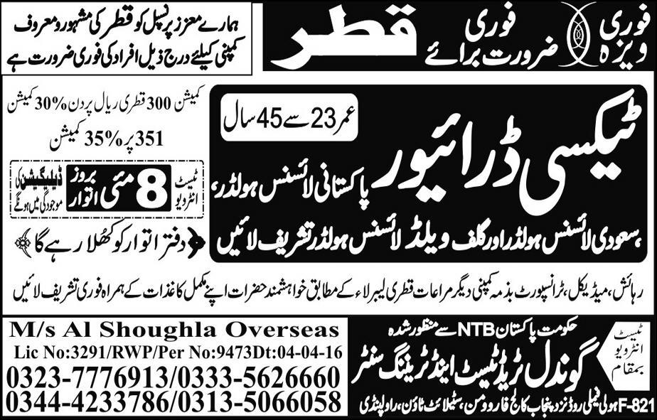 Taxi Driver in Qatar Jobs 2016