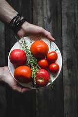 Heirloom tomatoes and fresh thyme