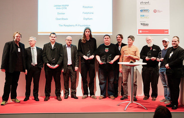 Linux New Media Awards 2015 – Group shot showing the winners and presentators