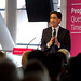 Ed Miliband speaking at a Q&A in Cardiff
