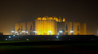 Colorful National Parliament House of Bangladesh at Night