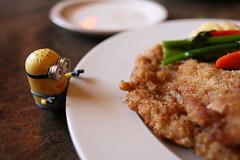 Minion Phil at Bavarian Inn with Wiener  Schnitzel