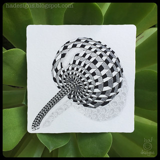 "Zentangle® Inspired Art : Weekly Challenge #208 DuoTangle Cubine & Poke Root : ""Reflections"""