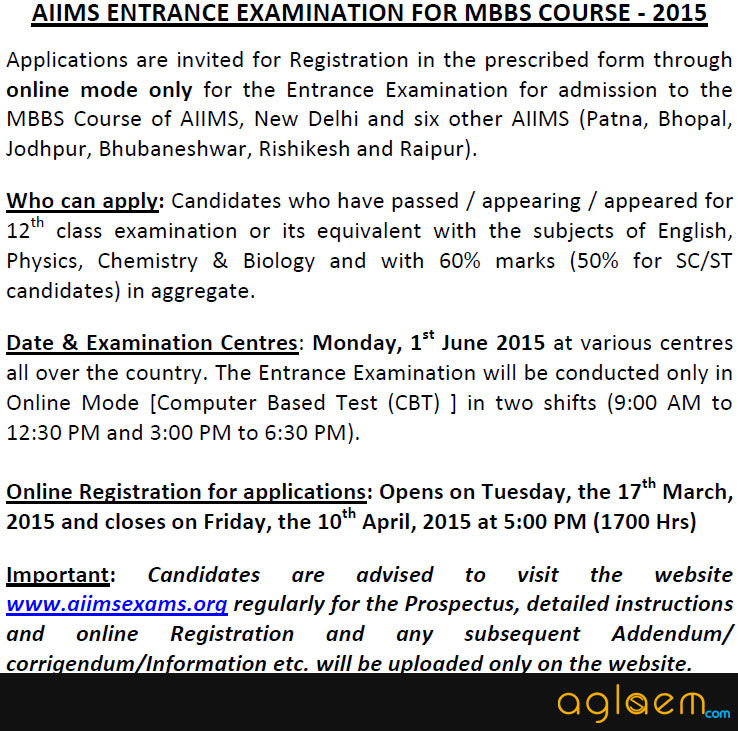 AIIMS MBBS 2015 Notification for Application Form
