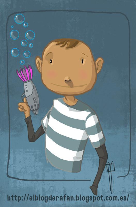 niño con pistola de burbujas color