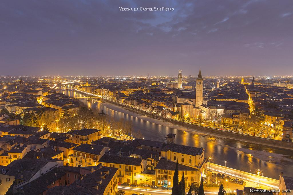 Verona da Castel San Pietro al crepscolo