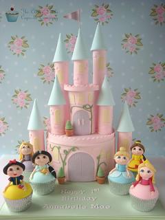 Princess Castle Cake with Princess Cupcakes
