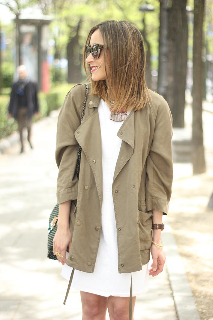 White denim Dress Khaki trench12