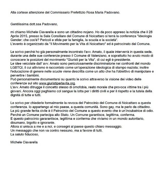 Noicattaro. Lettera Michele Ciavarella intero