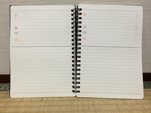 保育園ノートに無印のダブルリングノート