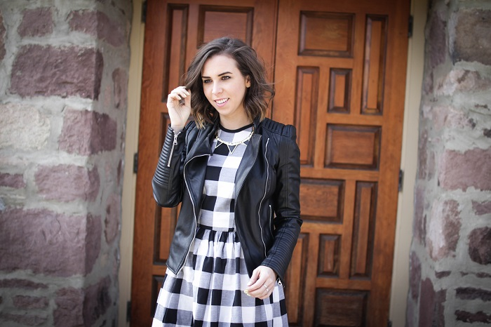 aviza style. fashion blogger. dc blogger. faux leather zara jacket. dvf booties. gingham dress. spring trends. spring dress. gingham 2