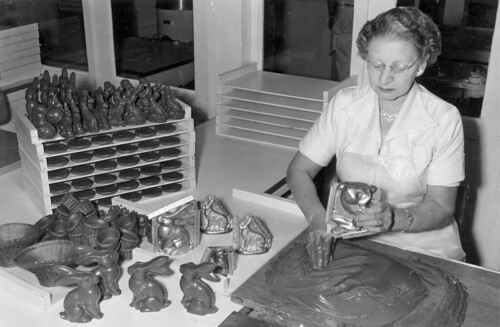 Candy Kitchen, Knott's Berry Farm, Myrtle Carroll makes Easter bunnies, 1957 | by Orange County Archives