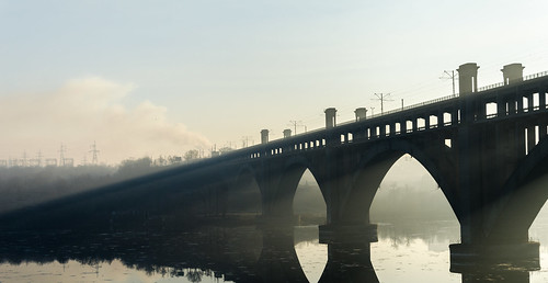 morning bridge reflection sunrise river shadows arc sunrays dnepr dnipro zaporizhzhya zaporozhye