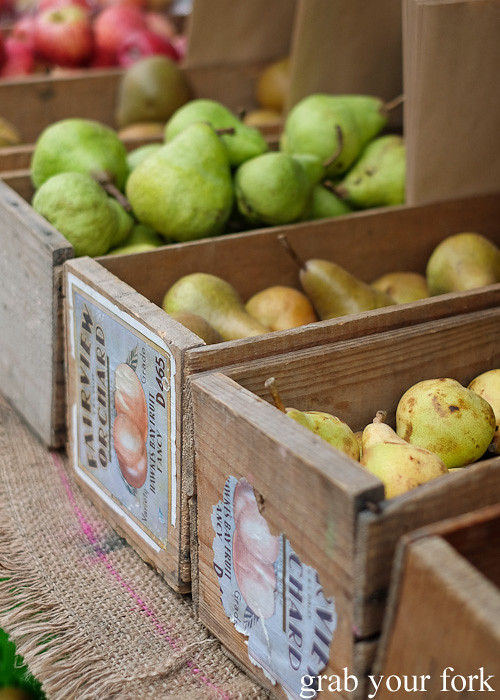 Local pears at Thorndon Farmers' Market, Wellington
