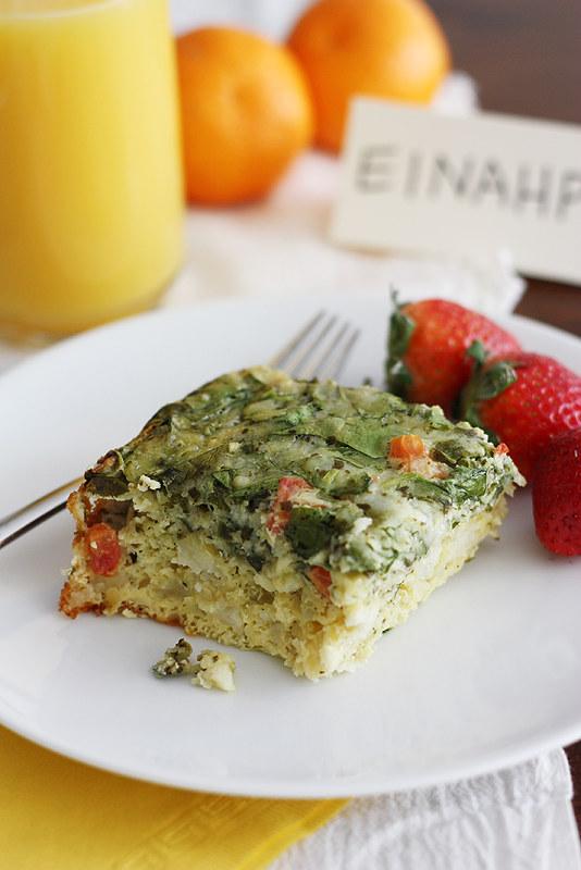 Slow Cooker Cheesy Pesto and Spinach Egg Casserole   girlversusdough.com @stephmwise
