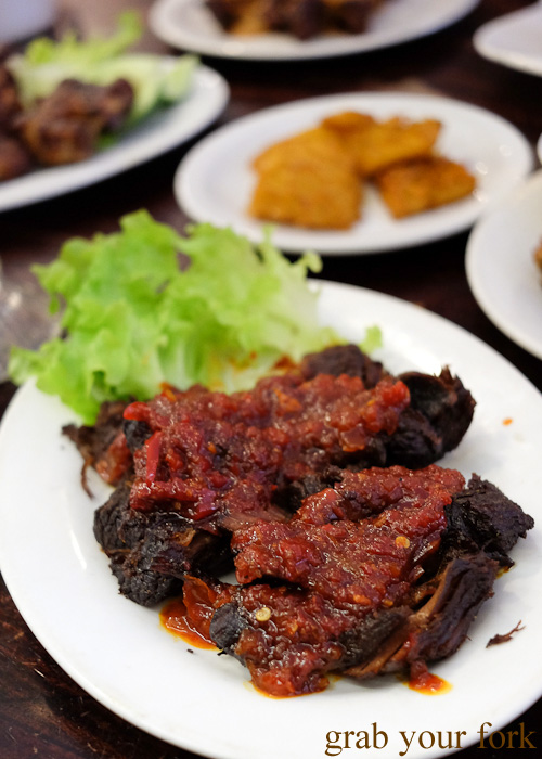 Empal goreng fried marinated beef at Indo Rasa, Kingsford