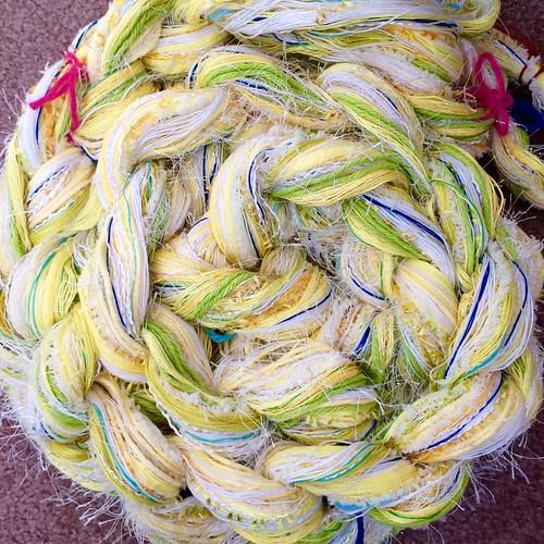 8 metre Saori warp. Mostly cotton.