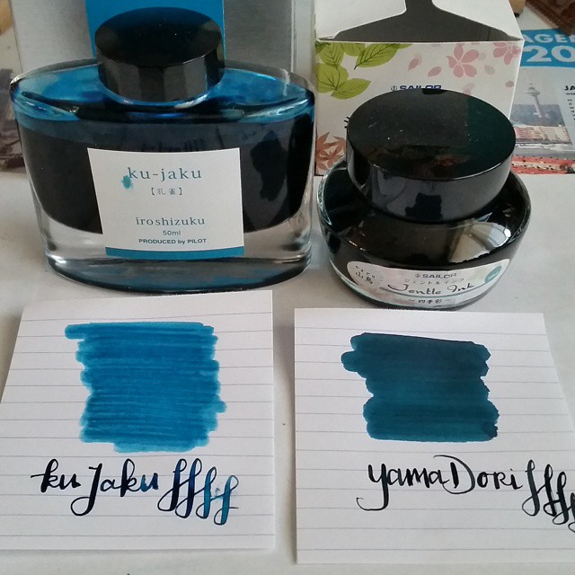 As requested by @theinksampler swabs of iroshizuku kujaku and sailor yamadori. As you can see YamaDori is a lot darker and also has a lot more sheen to it. Both inks are on my fave list though. Hope this helps 😊