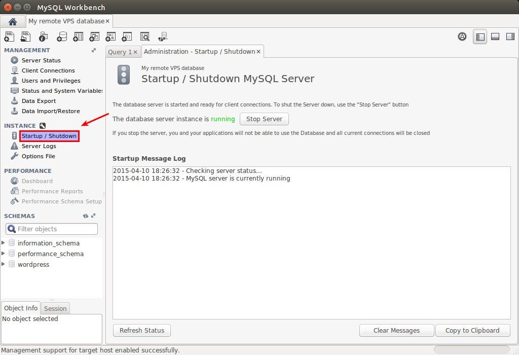 MySQL Workbench - Start and Shutdown a Server
