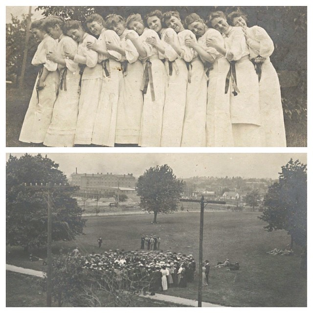 With #EarthDay yesterday & #ArborDay just hours away, we #tbt to the 1906 Arbor Day celebration on campus. Each year the senior class held a ceremony where they planted a tree. The senior class girls would wear white with a ribbon tied around the waist of