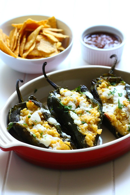Poblano Peppers Stuffed with Corn Risotto