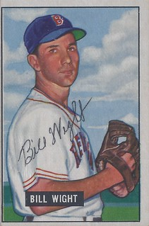 1951 Bowman - Bill Wight #164 (Pitcher) (b. 12 Apr 1922 - d. 17 May 2007 at age 85) - Autographed Baseball Card (Boston Red Sox)
