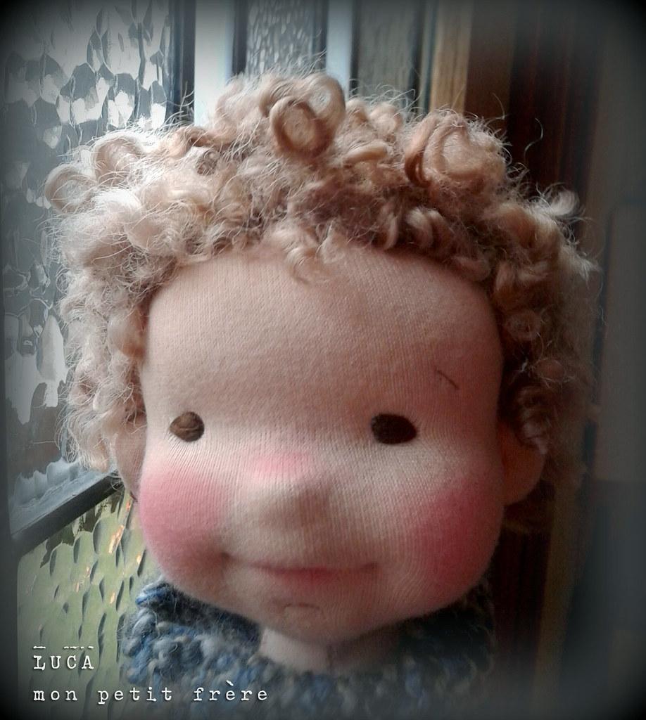 "Luca-13"" Natural fiber art doll"