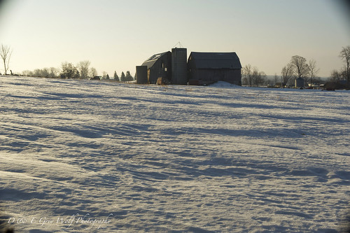 winter snow barn sunrise farm