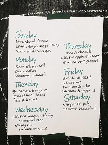 Meal plan, next two weeks