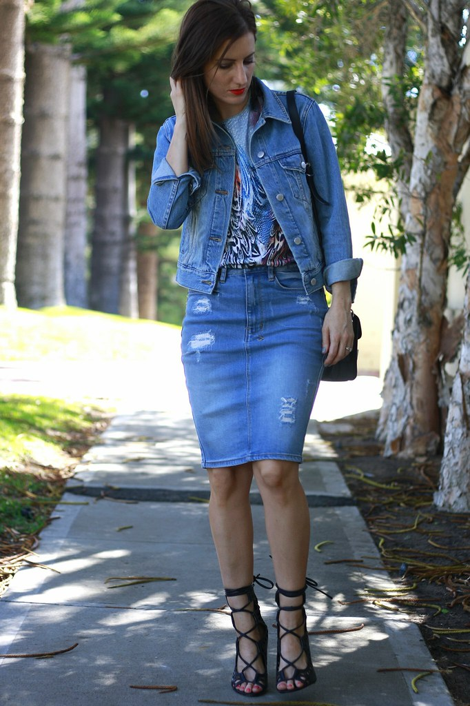Denim on denim outfit featuring Ksubi