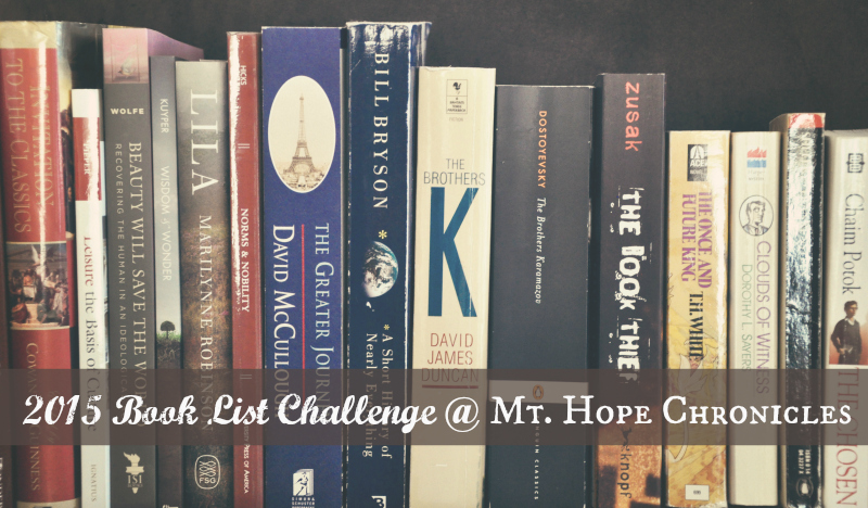 2015 Book List Challenge @ Mt. Hope Chronicles