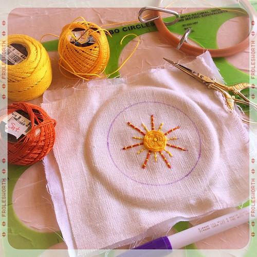 Sunny stitching on a sunny morning #bonniesennott #embroidery #sunshine #stitch #joy