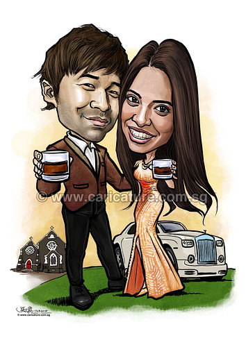 Indian wedding couple digital caricatures at church with Rolls Royce (watermarked)