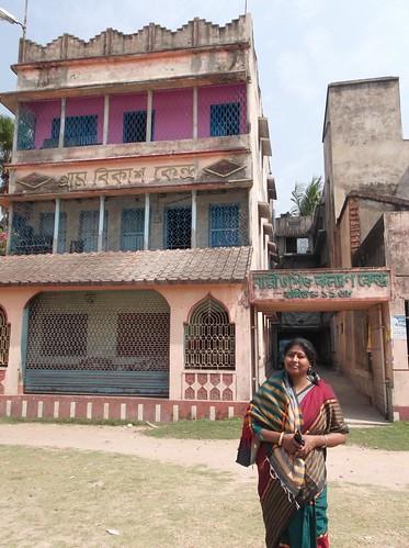 Rahima Khatun, Secretary of Nari-O-Sishu Kalyan Kendra  in front of the office at Khaskhamar, Howrah
