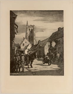 """""""The road to Ypres through Vlamertinghe,"""" an etching by Canadian war artist, Lieutenant Cyril H. Barraud, circa 1915 / « La route vers Ypres passant par Vlamertinghe », gravure du lieutenant Cyril H. Barraud, artiste militaire canadien, vers 1915"""
