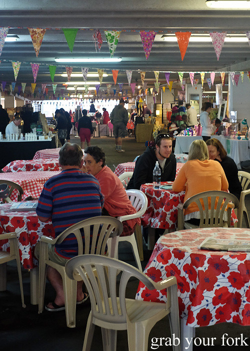 Stalls and tables at Wellington Underground Market, Wellington