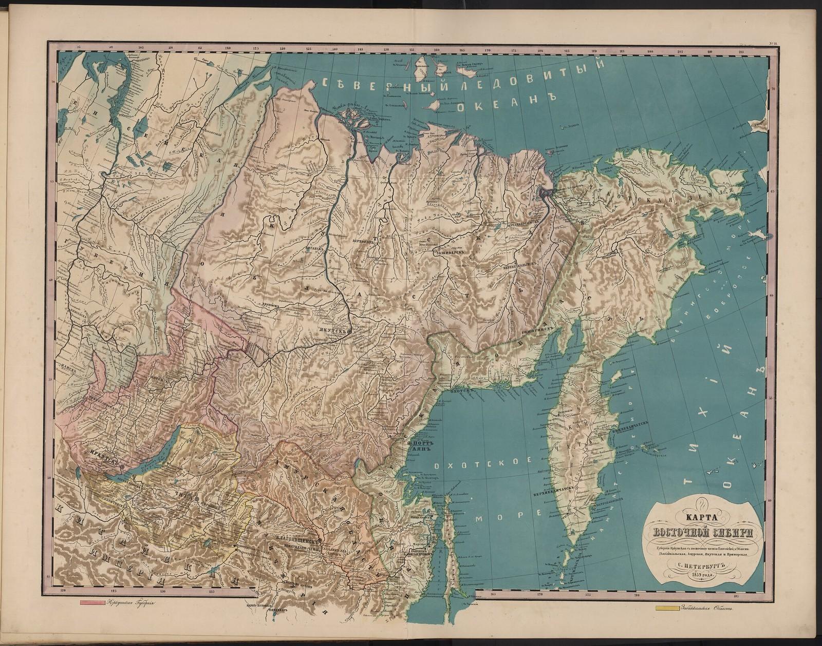 18. Карта Восточной Сибири.