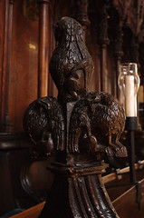 Boston, Lincolnshire, St. Botolph's, choir stalls, finial with hybrid monster