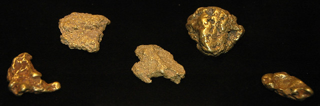 Gold nuggets (placer gold) (near Fairplay, Colorado, USA)