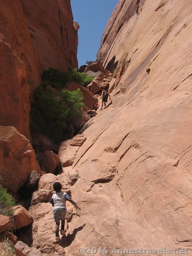 Heading back up into the slot of Hole in the Rock, Glen Canyon National Recreation Area, Utah