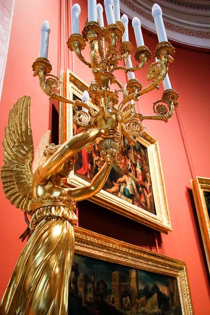 Golden angel shaped candleholder, Hermitage Museum, Saint Petersburg, Russia エルミタージュ美術館、天使像の燭台