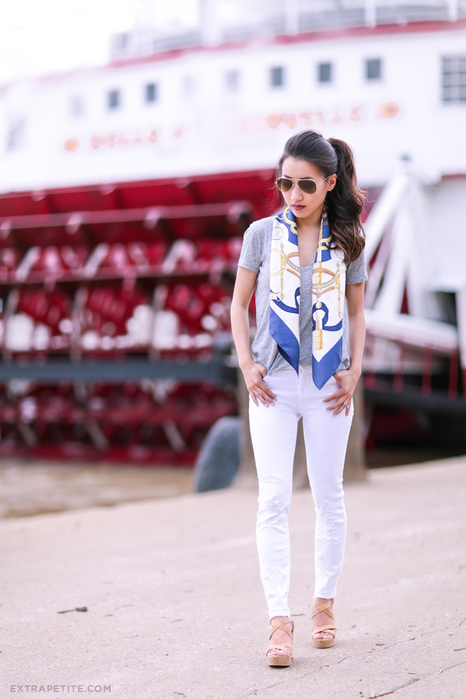 jbrand white jeans silk scarf summer outfit