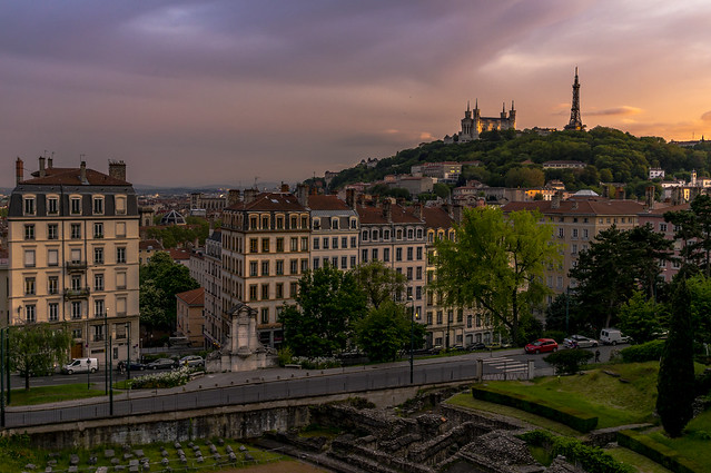 Sunset over Lyon, Croix-Rousse, Jardin des Plantes
